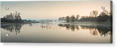 Beautiful Tranquil Mist Over Lake Sunrise Landscape Acrylic Print by Matthew Gibson