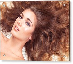 Beautiful Woman With Long Hair Spread Around Her Acrylic Print by Oleksiy Maksymenko