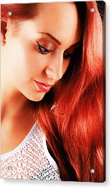 Beauty In Red Hair Acrylic Print by T Monticello