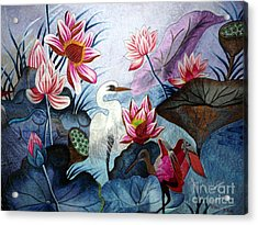 Beauty Of The Lake Hand Embroidery Acrylic Print by To-Tam Gerwe