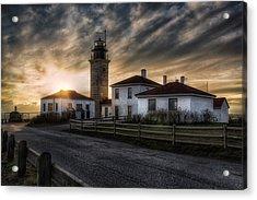 Beavertail Lighthouse Sunset Acrylic Print by Joan Carroll