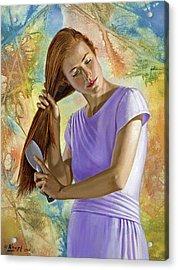 Becca Brushing Her Hair Acrylic Print by Paul Krapf