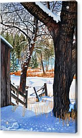 Snow Scenes In Watercolors Acrylic Print featuring the painting Beckworth Bathed In Snow by Sandi Howell