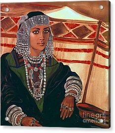 Bedouin Woman Bride  Girl Acrylic Print by Jean Marie Bowcott