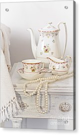 Bedside Table For Tea Acrylic Print by Amanda And Christopher Elwell