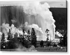 Beehive Geyser Shower In Black And White Acrylic Print by Bruce Gourley