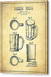 Beer Mug Patent Drawing From 1951 - Vintage Acrylic Print by Aged Pixel