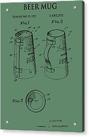 Beer Mug Patent On Green Acrylic Print by Dan Sproul