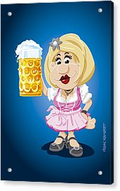 Beer Stein Dirndl Oktoberfest Cartoon Woman Acrylic Print by Frank Ramspott