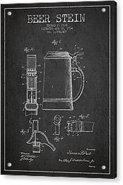 Beer Stein Patent From 1914 - Dark Acrylic Print by Aged Pixel