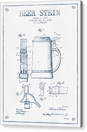 Beer Stein Patent From 1914 -  Blue Ink Acrylic Print by Aged Pixel