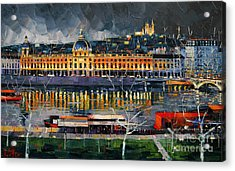 Before The Storm - View On Hotel Dieu Lyon And The Rhone France Acrylic Print by Mona Edulesco