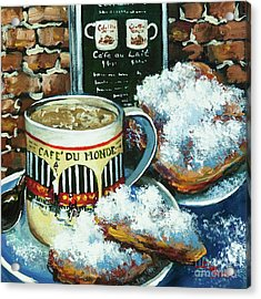 Beignets And Cafe Au Lait Acrylic Print by Dianne Parks