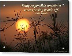 Being Responsible  Acrylic Print by Pharaoh Martin