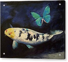 Bekko Koi And Butterfly Acrylic Print by Michael Creese