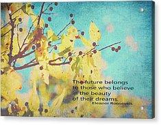 Believe In Dreams Acrylic Print by Toni Hopper