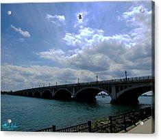 Belle Isle Bridge Detroit Acrylic Print by Michael Rucker