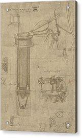 Bellows Perspectograph With Man Examining Inside From Atlantic Codex Acrylic Print by Leonardo Da Vinci