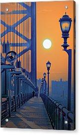 Ben Franklin Bridge Walkway Acrylic Print by Bill Cannon