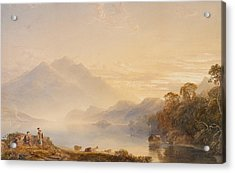 Ben Venue And The Trossachs Seen From Loch Achray Acrylic Print by Anthony Vandyke Copley Fielding