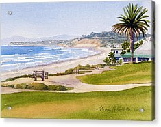 Bench At Powerhouse Beach Del Mar Acrylic Print by Mary Helmreich