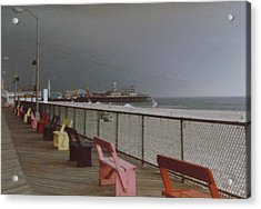 Benches Of Seaside Heights Nj Acrylic Print by Joann Renner