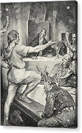 Beowulf Replies Haughtily To Hunferth Acrylic Print by John Henry Frederick Bacon