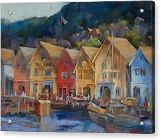 Bergen Bryggen In The Early Morning Acrylic Print by Joan  Jones