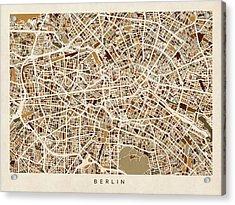 Berlin Germany Street Map Acrylic Print by Michael Tompsett