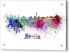 Berlin Skyline In Watercolor Acrylic Print by Pablo Romero