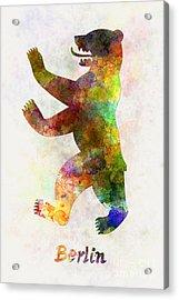 Berlin Symbol In Watercolor Acrylic Print by Pablo Romero