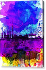 Berlin Watercolor Skyline Acrylic Print by Naxart Studio
