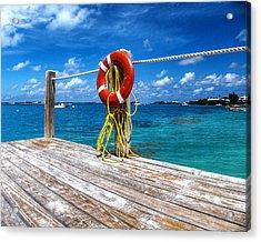 Bermuda Lifebelt Bite Acrylic Print by Richard Reeve