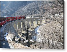 Acrylic Print featuring the photograph Bernina Express In Winter by Travel Pics