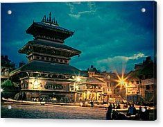 Bhaktapur At Night In Old Town Acrylic Print by Raimond Klavins