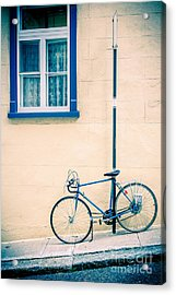 Bicycle On The Streets Of Old Quebec City Acrylic Print by Edward Fielding