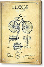 Bicycle Patent Drawing From 1891 - Vintage Acrylic Print by Aged Pixel