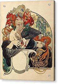 Biere De La Meuse,  Polychrome Gouache On Buffed Paper Acrylic Print by Alphonse Marie Mucha