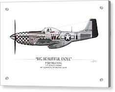 Big Beautiful Doll P-51d Mustang - White Background Acrylic Print by Craig Tinder