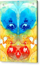 Big Blue Love - Visionary Art By Sharon Cummings Acrylic Print by Sharon Cummings