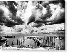 Big Clouds Little Dock Acrylic Print by John Rizzuto