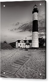 Big Sable Point Lighthouse In Black And White Acrylic Print by Sebastian Musial
