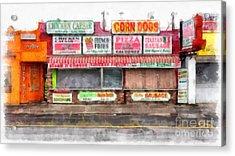 Big Steve's Italian Sausage Hampton Beach Boardwalk Acrylic Print by Edward Fielding