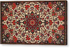 Bijar Red And Cream Silk Carpet Persian Art Poster Acrylic Print by Persian Art