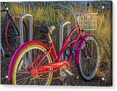 Bike At The Beach Acrylic Print by Debra and Dave Vanderlaan