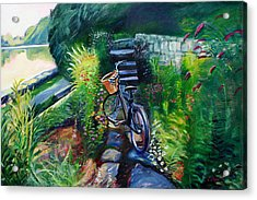 Bike In The Butterfly Garden Acrylic Print by Colleen Proppe