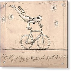 Bike On Wire Acrylic Print by H James Hoff