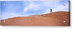 Biker On Slickrock Trail, Moab, Grand Acrylic Print by Panoramic Images