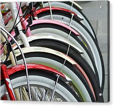Bikes In A Row Acrylic Print by Joie Cameron-Brown