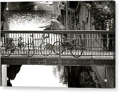 Bikes Over Waller Creek Acrylic Print by Kristina Deane